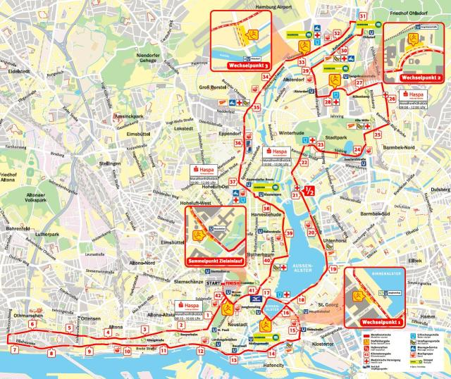 Hamburg Marathon Course Map