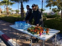 The aid stations served bottled water and oranges, and some had dates.