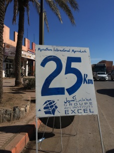 Race markers were placed 2.5 kilometers apart.